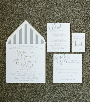 Silver and White Wedding Stationery
