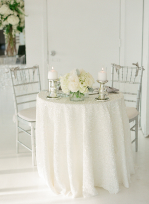 Sweetheart Table in Silver and White