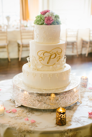 Wedding Cake with Gold Monogram