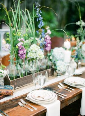 Wedding Flowers in Medicine Bottles