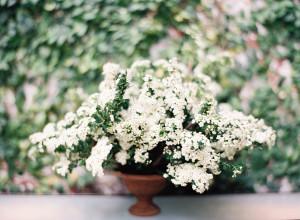 White Wedding Flowers in Urn
