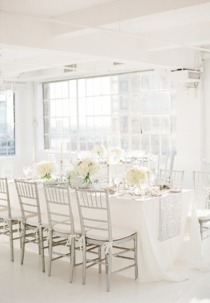 White and Silver Modern Wedding Reception