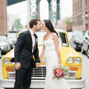 Bride and Groom with Vintage Taxi