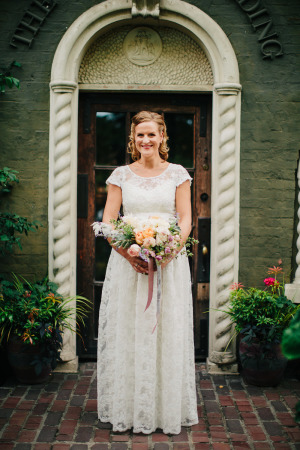 Bride in Lace BHLDN Gown