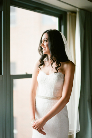 Bride in Monique Lhuillier