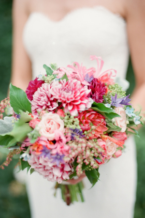 Bride with Fuchsia Bouquet