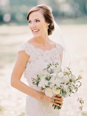 Bride with Pale Green Bouquet