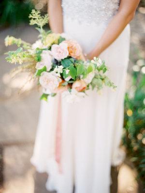 Bride with Peach Bouquet