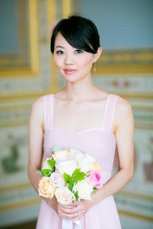 Bridesmaid in Long Pink Dress
