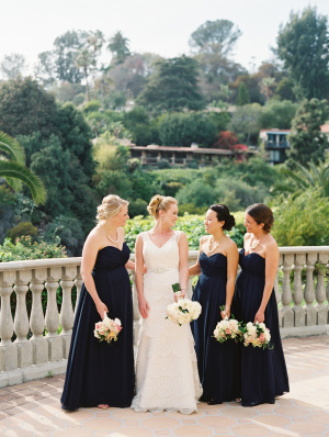 Bridesmaids in Long Navy Gowns