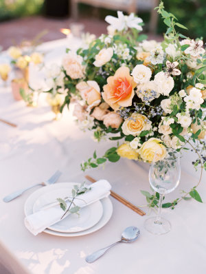 Centerpiece in Peach and Yellow