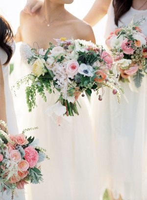 Colorful Bouquets with White Dresses