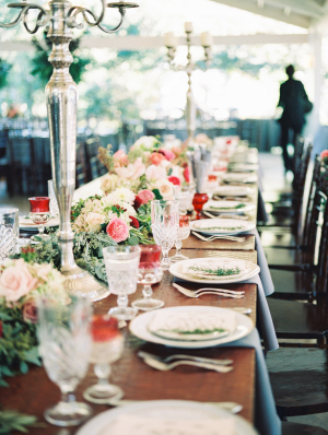 Estate Tables with Pink Flowers