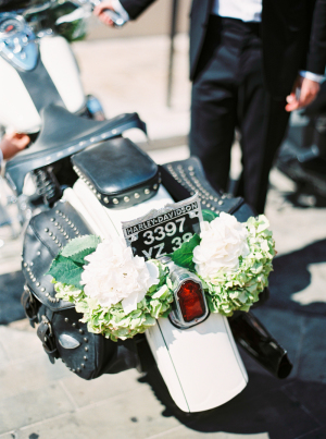 Motorcycle with Floral Garland