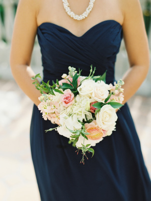 Navy Strapless Bridesmaids Dress