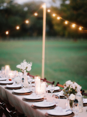 Outdoor Wedding Under String Lights