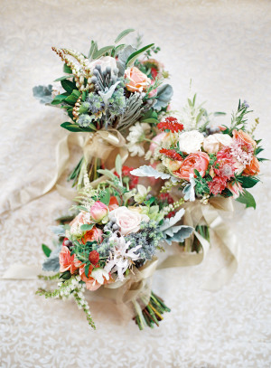 Pale Blue and Coral Bouquets