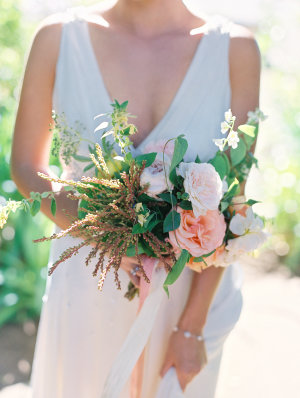 Peach Bouquet Tied with Ribbons