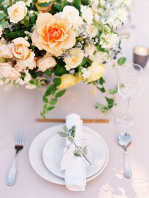 Peach and Green Wedding Place Setting