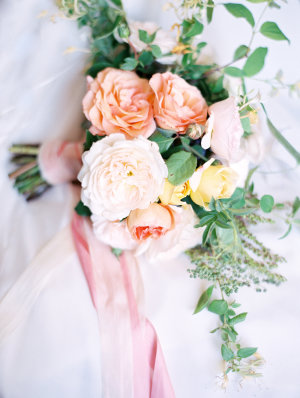 Pink Ribbon Tied Bouquet