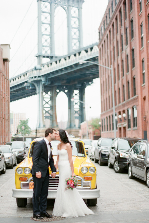 Wedding Photo with Taxi Cab