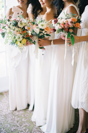 White Chiffon Bridesmaids Dresses