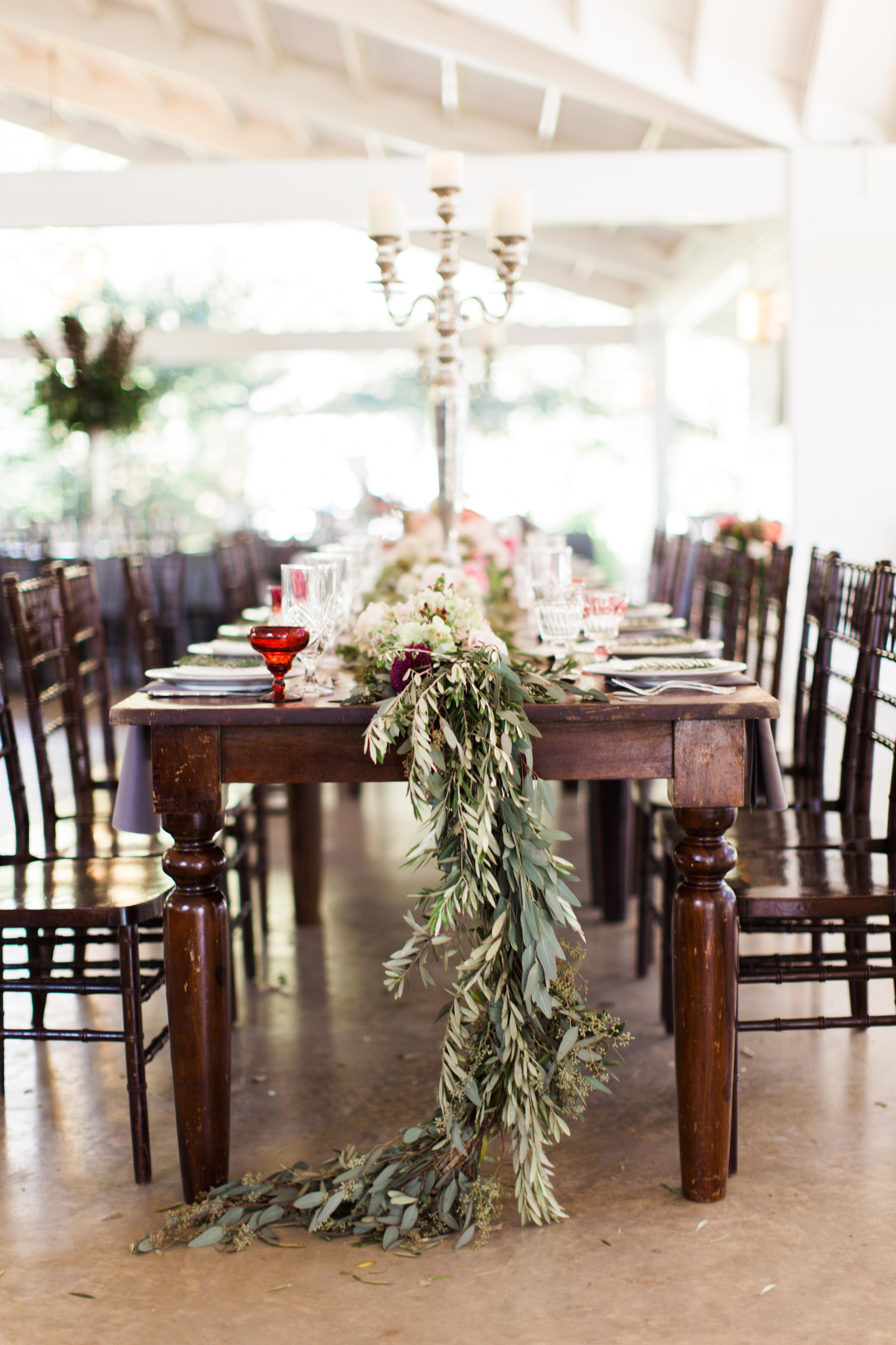 Wooden Tables with Garland Centerpiece - Elizabeth Anne ...