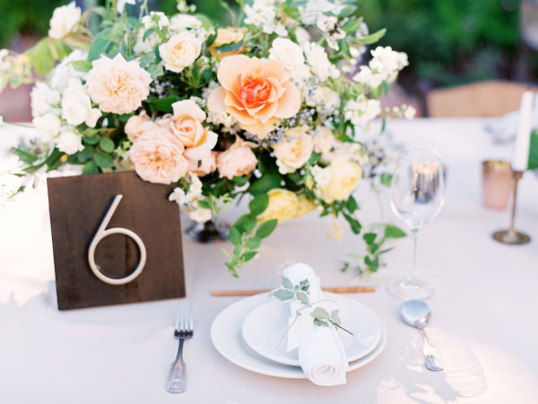 Yellow and Peach Centerpiece