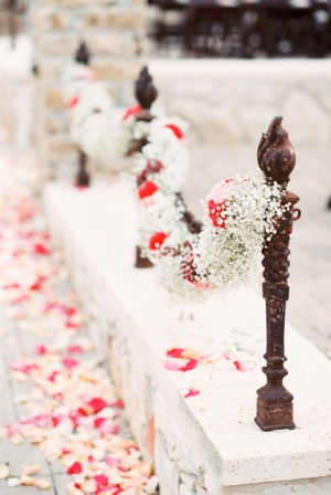 Babys Breath and Pink Rose Garland