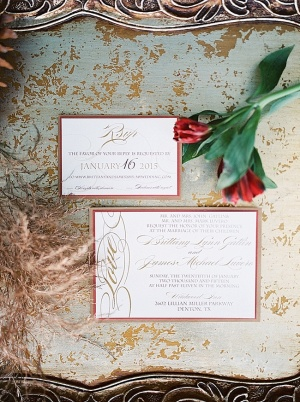 Berry and Gold Wedding Invitations