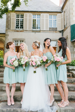 Bridesmaids in Seafoam