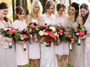 Bridesmaids with Burgundy Bouquets