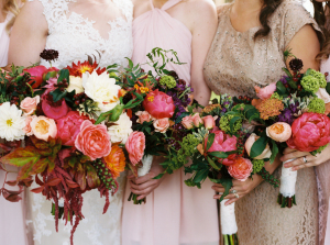 Burgundy and Coral Bouquets