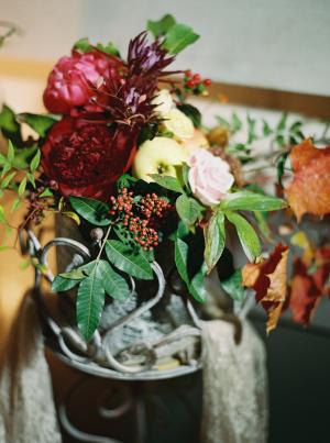 Burgundy and Green Wedding Flowers