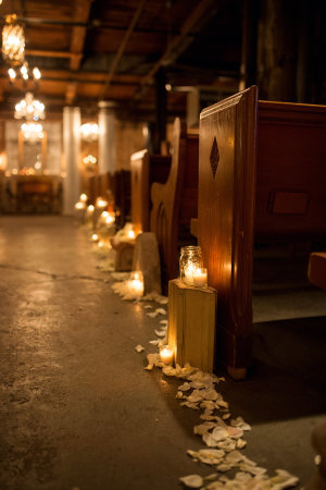 Ceremony Benches with Candles