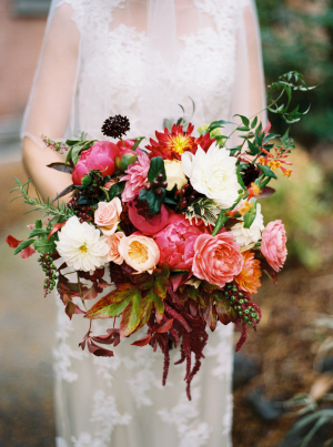 Dark Coral and Burgundy Bouquet