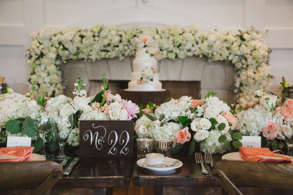 Elegant Ivory and Peach Wedding Flowers