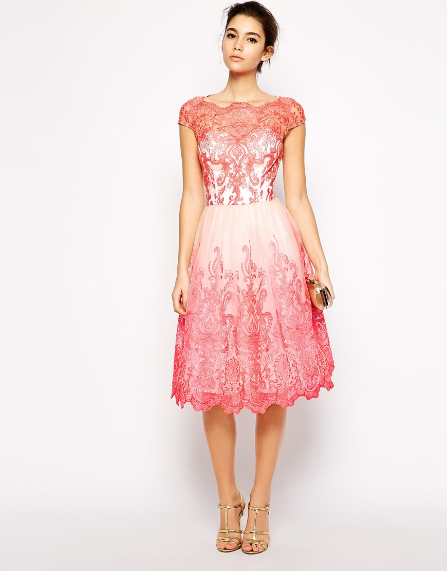 Chi chi london embroidered lace dress with bardot neck for Embroidered lace wedding dress