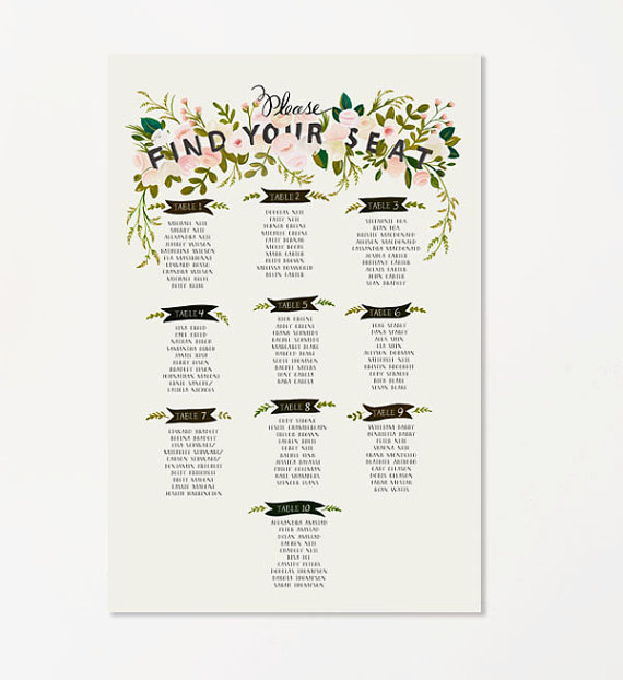 Find Your Seat Floral Chart