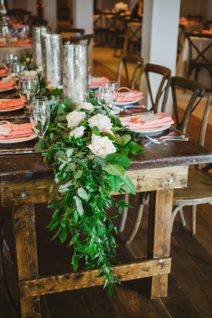 Garland and Candle Centerpiece