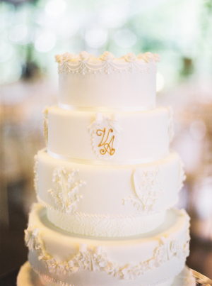 Ivory Cake with Gold Monogram