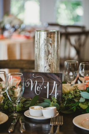 Painted Wood Table Number