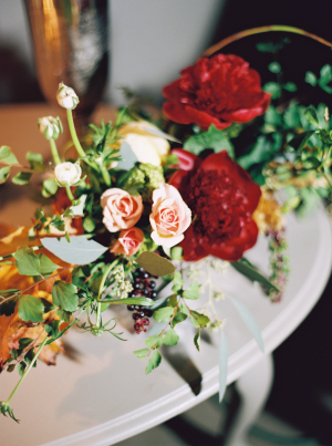 Pale Peach and Red Wedding Flowers