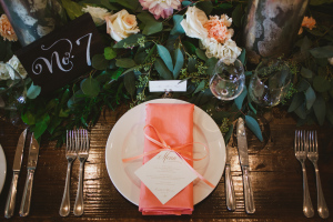 Peach Wedding Place Setting