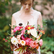 Peony and Autumn Leaves Bouquet