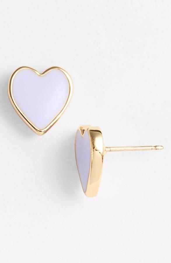 Purple Kate Spade Heart Earrings