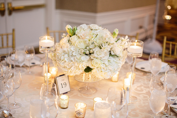 White hydrangea and rose centerpiece elizabeth anne