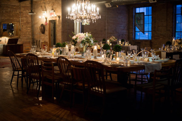 Wood Table at Wedding