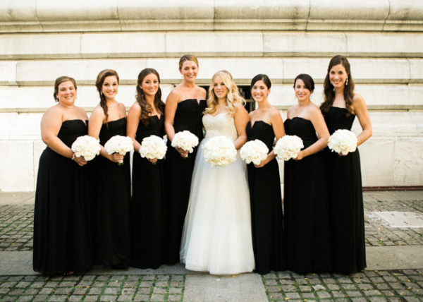 Black Strapless Bridesmaids Dresses