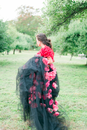 Black Tulle and Pink Flower Dress
